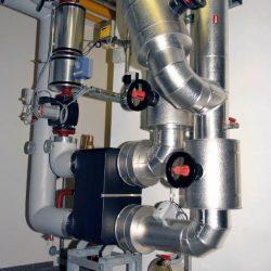 Abwärmeauskopplung – Übergabestation an einem Rauchgaskühl-System; Leistung ca. 800 kW